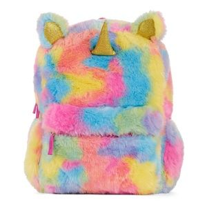 Handbags - Fluffy unicorn rainbow backpack for school! Cute